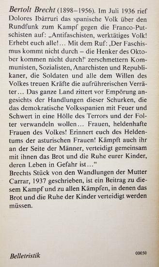 Die Gewehre der Frau Carrar - Bertolt Brecht, achterflap