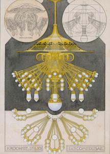 H.P. Berlage. Kroon, voor een electrisch licht. Collectie NAi  BERL 251.002 Ornamentmotieven en decoratieve voorwerpen naar voorbeeld van Kunstformen der Natur van Ernst Haeckel