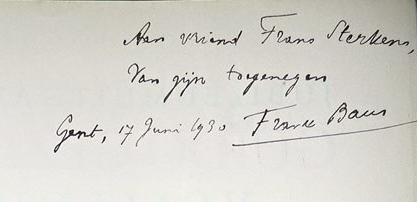 Opdracht Frank Baur aan Frans Sterkens