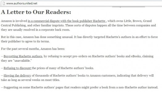 Authors United A Letter to Our Readers