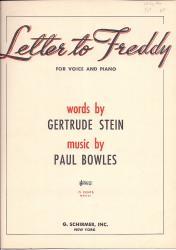Letter to Freddy - Gertrude Stein en Paul Bowles