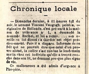 Nieuwsbericht over het oor, Forum Républicain, 30 december 1888